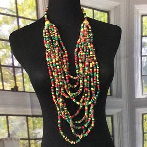 Jewelry - Green Black Red and Yellow Beaded Necklace